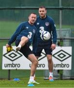 11 November 2014; Republic of Ireland's Aiden McGeady, left, and Anthony Stokes during squad training ahead of their UEFA EURO 2016 Championship Qualifer, Group D, match against Scotland on Friday. Republic of Ireland Squad Training, Gannon Park, Malahide, Co. Dublin. Picture credit: David Maher / SPORTSFILE