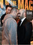 12 November 2014; Anthony Fitzgerald, left, and Spike O'Sullivan face off after a press conference ahead of their bout on Saturday. Smock Alley Theatre, Dublin. Picture credit: Ramsey Cardy / SPORTSFILE