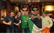 13 November 2014; Republic of Ireland supporters, from left, Jimmy Rush, Jonathan Dunne, Jerry Rush, Martin O'Leary, Derek O'Leary and Derek Elwood, from Edenmore, Dublin, at Malone's Irish Bar in Glasgow ahead of their UEFA EURO 2016 Championship Qualifer Group D game against Scotland on Friday. Glasgow, Scotland. Picture credit: Stephen McCarthy / SPORTSFILE