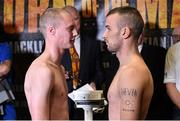 14 November 2014; John Joe Nevin, right, and Jack Heath after weighing in for their featherweight bout. Citywest Hotel, Saggart, Co. Dublin. Picture credit: Ramsey Cardy / SPORTSFILE