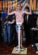 14 November 2014; Anthony Fitzgerald weighs in for his middleweight bout against Spike O'Sullivan. Citywest Hotel, Saggart, Co. Dublin. Picture credit: Ramsey Cardey / SPORTSFILE Picture credit: Ramsey Cardy / SPORTSFILE