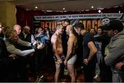 14 November 2014; Anthony Fitzgerald, left, and Spike O'Sullivan after weighing in for their middleweight bout. Citywest Hotel, Saggart, Co. Dublin. Picture credit: Ramsey Cardy / SPORTSFILE