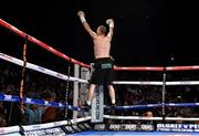 15 November 2014; John Joe Nevin celebrates after defeating Jack Heath in the first round of their featherweight bout. Return of The Mack, 3Arena, Dublin. Picture credit: Ramsey Cardy / SPORTSFILE