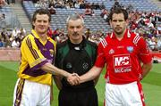 17 June 2007;  Wexford captain Ciaran Lyng with referee Paddy Russell and Louth captain Peter McGinnity before the 'toss'. Bank of Ireland Leinster Senior Football Championship Quarter-Final, Louth v Wexford, Croke Park, Dublin. Picture credit: Ray McManus / SPORTSFILE