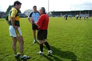 8 April 2007; Referee Jimmy McKee speaks to captains Bryan Sheehan, left, Kerry and Colin Moran, Dublin. Allianz National Football League, Division 1A, Round 7, Dublin v Kerry, Parnell Park, Dublin. Picture credit: Brendan Moran / SPORTSFILE