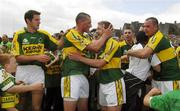 1 July 2007; Kerry players, from left, Eoin Brosnan, Kieran Donaghy, Mike Frank Russell, Marc O Se and Michael Quirke celebrate after the game. Bank of Ireland Munster Senior Football Championship Final, Kerry v Cork, Fitzgerald Stadium, Killarney, Co. Kerry. Picture credit: Brendan Moran / SPORTSFILE
