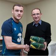 17 November 2014; Anthony Stokes is presented with his senior international cap by Republic of Ireland manager Martin O'Neill. Republic of Ireland Squad Caps Presentation, Portmarnock Hotel & Golf Links, Portmarnock, Co. Dublin Picture credit: David Maher / SPORTSFILE