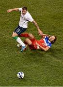 18 November 2014; Anthony Stokes, Republic of Ireland, is tackled by Mix Diskerud, USA. International Friendly, Republic of Ireland v USA, Aviva Stadium, Lansdowne Road, Dublin. Picture credit: Barry Cregg / SPORTSFILE