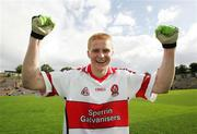 8 July 2007; Colin Devlin, Derry, scorer of the winning point, celebrates after the match. Bank of Ireland All-Ireland Senior Football Championship Qualifier, Round 1, Armagh v Derry, St Tighearnach's Park, Clones, Co. Monaghan. Picture credit: Oliver McVeigh / SPORTSFILE