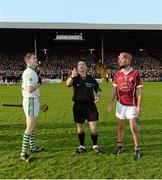 16 November 2014; Referee Gavin Quilty performs the coin toss with captains TJ Reid, left, Ballyhale Shamrocks, and Sean O'Shea, Clara, before the game. Kilkenny Senior Hurling Championship Final, Clara v Ballyhale Shamrocks, Nowlan Park, Co. Kilkenny. Picture credit: Piaras Ó Mídheach / SPORTSFILE