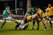 22 November 2014; Bernard Foley, Australia, supported by teammate Matt Tooma, scores his side's second try of the game despite the tackles of Conor Murray, Rhys Ruddock, and Tommy Bowe, Ireland. Guinness Series, Ireland v Australia. Aviva Stadium, Lansdowne Road, Dublin. Picture credit: Brendan Moran / SPORTSFILE