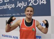 23 November 2014; Katie Taylor, Ireland, celebrates after beating Junhua Yin, China, in their semi-final bout. 2014 AIBA Elite Women's World Boxing Championships, Jeju, Korea. Picture credit: Paul Mohan / SPORTSFILE