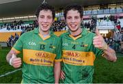 23 November 2014; Rhode players and twin brothers Paul and James McPadden celebrates after the game. AIB Leinster GAA Football Senior Club Championship Semi-Final, Rhode v Moorefield. O'Connor Park, Tullamore, Co. Offaly. Picture credit: Matt Browne / SPORTSFILE