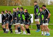 24 November 2014; Munster players, including Jack O'Donoghue, Greg O'Shea and Paddy Butler, right, warm up during squad training ahead of Friday's Guinness PRO12, Round 9, match against Ulster. Munster Rugby Squad Training, University of Limerick, Limerick. Picture credit: Diarmuid Greene / SPORTSFILE