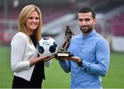 26 November 2014; Christy Fagan, St. Patricks Athletic, who was presented with the SSE Airtricity / SWAI Player of the Month Award for November 2014 by Leanne Sheill, from SSE Airtricity. Richmond Park, Inchicore, Dublin. Picture credit: Matt Browne / SPORTSFILE