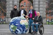 26 November 2014; World Sports Team, a volunteer-driven non-profit organisation on a mission to provide sportspeople across the world with a supportive network, has today launched in Dublin. The newly established network aims to build a member base which will provide support to those who suffer debilitating injuries through partaking in sport. Through global fundraising and awareness programmes, the charity organisation aims to reach out to the families and friends of sportspeople, amateur or otherwise, who have suffered catastrophic injury as well as the injured themselves. World Sports Team is free to join at www.worldsportsteam.org . In attendance at the World Sports Team launch are, from left, amateur jockey Patrick Mullins, former Kerry footballer Paul Galvin, former Wexford hurler Diarmuid Lyng, and adventure athlete Mark Pollock. Foster Place, Dublin. Picture credit: Brendan Moran / SPORTSFILE
