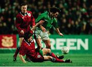 15 February 1995; Eddie McGoldrick, Republic of Ireland, is tackled by Peter Beardsley, England. International Friendly, Republic of Ireland v England, Lansdowne Road, Dublin. Picture credit; Ray McManus / SPORTSFILE