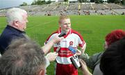 8 July 2007; Colin Devlin, Derry, scorer of the winning point, being interviewed after the game. Bank of Ireland All-Ireland Senior Football Championship Qualifier, Round 1, Armagh v Derry, St Tighearnach's Park, Clones, Co. Monaghan. Picture credit: Oliver McVeigh / SPORTSFILE