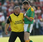 7 July 2007; Meath assistant manager, Tommy Dowd, with Mark Ward. Bank of Ireland All-Ireland Senior Football Championship Qualifier, Round 1, Down v Meath, Pairc Esler, Newry, Co. Down. Picture credit: Oliver McVeigh / SPORTSFILE