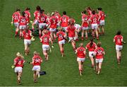 28 September 2014; The Cork squad gather for the pre-match team photograph. TG4 All-Ireland Ladies Football Senior Championship Final, Cork v Dublin. Croke Park, Dublin. Picture credit: Ray McManus / SPORTSFILE