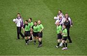 28 September 2014; Referee Maggie Farrelly, second from left, and her officials before the game. TG4 All-Ireland Ladies Football Senior Championship Final, Cork v Dublin. Croke Park, Dublin. Picture credit: Ray McManus / SPORTSFILE