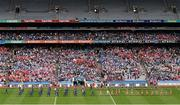 28 September 2014; The Cork and Dublin teams march in the pre-match parade behind the Artane Band. TG4 All-Ireland Ladies Football Senior Championship Final, Cork v Dublin. Croke Park, Dublin. Picture credit: Ray McManus / SPORTSFILE