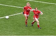 28 September 2014; Rhona Ní Bhuachalla, Cork, celebrates scoring a goal with team-mate Orla Finn. TG4 All-Ireland Ladies Football Senior Championship Final, Cork v Dublin. Croke Park, Dublin. Picture credit: Ray McManus / SPORTSFILE