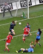 28 September 2014; Rhona Ní Bhuachalla, Cork, scores a goal past Dublin goalkeeper Clíodhna O'Connor. TG4 All-Ireland Ladies Football Senior Championship Final, Cork v Dublin. Croke Park, Dublin. Picture credit: Ray McManus / SPORTSFILE