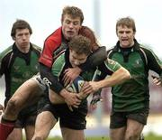 31 December 2005; Matt Mostyn, Connacht, is tackled by Tommy Bowe, Ulster. Celtic League 2005-2006, Group A, Connacht v Ulster, Sportsground, Galway. Picture credit: Ray McManus / SPORTSFILE