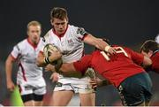 28 November 2014; Craig Gilroy, Ulster, is tackled by Tommy O'Donnell, Munster. Guinness PRO12, Round 9, Munster v Ulster, Thomond Park, Limerick. Picture credit: Stephen McCarthy / SPORTSFILE