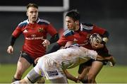 5 December 2014; Greg O'Shea, Munster A, is tackled by Matt Cox, Worcester Warriors. British & Irish Cup Round 5, Munster A v Worcester Warriors. Cork Institute of Technology, Cork. Picture credit: Matt Browne / SPORTSFILE