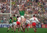 18 August 1996; John McDermott and Jimmy McGuinness, Meath, contest a high ball. All-Ireland Football Semi-Final, Meath v Tyrone, Croke Park, Dublin. Picture credit; Brendan Moran / SPORTSFILE
