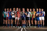 10 December 2014; Fitzgibbon Cup players, from left, Jim White, NUI Maynooth, Jason Flynn, GMIT, Declan Hannon, Mary Immaculate, Matthew O'Hanlon, UCD, Stephen Maher, IT Carlow, John O'Dwyer, Cork IT, Jake Dillon, WIT, Simon Doherty, UUJ, Alan Dempsey, Limerick IT,  Cian Boland, DCU, Kieran Bergin, DIT, Tommy Heffernan, UL, Peter Sutton, St. Pats Drumcondra / Mater Dei, in attendance at the launch of the Independent.ie Higher Education GAA Senior Championships at Croke Park, Dublin. Picture credit: Stephen McCarthy / SPORTSFILE