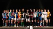 10 December 2014; Sigerson Cup players, from left, Barry O'Farrell, GMIT, John Heslin, UCD,  Tiernan Daly, Trinity, Kieran Kilcline, Athlone, Eamonn Kiely, UL, Cormac Costello, St. Pats Drumcondra / Mater Dei, Shane Murphy, IT Carlow, Graham Geraghty, IT Blanchardstown, Ryan McHugh, IT Sligo, Aidan Forker, St. Marys Belfast, Paul O'Donoghue, IT Tralee, David Hyland, NUI Maynooth, Ciaran Reddin, DIT, Michael Cunningham, Queens, Donal O'Sullivan, NUI Galway, and Tom Flynn, DCU, in attendance at the launch of the Independent.ie Higher Education GAA Senior Championships at Croke Park, Dublin. Picture credit: Stephen McCarthy / SPORTSFILE
