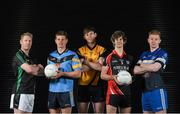 10 December 2014; Dublin Sigerson Cup colleges, from left, Graham Geraghty, IT Blanchardstown, John Heslin, UCD, Tom Flynn, DCU, Tiernan Daly, Trinity, and Ciaran Reddin, DIT, in attendance at the launch of the Independent.ie Higher Education GAA Senior Championships at Croke Park, Dublin. Picture credit: Stephen McCarthy / SPORTSFILE