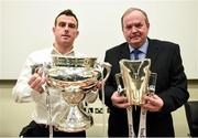 10 December 2014; Ger Keville, Sports Editor of Independent.ie, and Uachtarán Chumann Lúthchleas Gael Liam Ó Néill in attendance at the launch of the Independent.ie Higher Education GAA Senior Championships at Croke Park, Dublin. Picture credit: Stephen McCarthy / SPORTSFILE