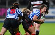 13 December 2014; Manuela McCarthy, Blackrock, supported by team-mate Emer McManamly, is tackled by Fionnuala Gleeson, Old Belvedere. Women's AIL Division 1 Final, Old Belvedere v Blackrock. Donnybrook Stadium, Donnybrook, Dublin.  Picture credit: Piaras Ó Mídheach / SPORTSFILE
