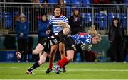 13 December 2014; Vikki McGowan, Blackrock, is tackled by Janice Daly, Old Belvedere. Women's AIL Division 1 Final, Old Belvedere v Blackrock. Donnybrook Stadium, Donnybrook, Dublin.  Picture credit: Piaras Ó Mídheach / SPORTSFILE