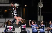 13 December 2014; Sheena Moore, Old Belvedere, wins possession in the line-out. Women's AIL Division 1 Final, Old Belvedere v Blackrock. Donnybrook Stadium, Donnybrook, Dublin.  Picture credit: Piaras Ó Mídheach / SPORTSFILE
