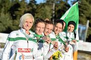 14 December 2014; The Ireland's women's team, from left to right, Ann-Marie McGlynn, Fionnuala Britton, Siobhan O'Doherty, Sara Treacy, Michelle Finn and Laura Crowe, after finishing in 3rd place in the team event in the Women's race. Spar European Cross Country Championships, Samokov, Bulgaria. Picture credit: Ramsey Cardy / SPORTSFILE