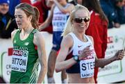 14 December 2014; Ireland's Fionnuala Britton, left, after finishing in 6th place, as race winner Gemma Steel celebrates after the Women's race. Spar European Cross Country Championships, Samokov, Bulgaria. Picture credit: Ramsey Cardy / SPORTSFILE