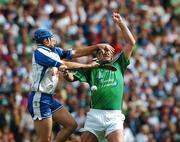 12 August 2007; Brian Begley, Limerick, contests a dropping ball with Declan Prendergast, Waterford. Guinness All-Ireland Senior Hurling Championship Semi-Final, Limerick v Waterford, Croke Park, Dublin. Picture credit; Brendan Moran / SPORTSFILE