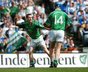 12 August 2007; Donie Ryan, Limerick, celebrates scoring his side's first goal with Brian Begley, 14. Guinness All-Ireland Senior Hurling Championship Semi-Final, Limerick v Waterford, Croke Park, Dublin. Picture credit; Brendan Moran / SPORTSFILE