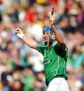 12 August 2007; Brian Begley, Limerick, celebrates after scoring a goal against Waterford in the final stages of the game. Guinness All-Ireland Senior Hurling Championship Semi-Final, Limerick v Waterford, Croke Park, Dublin. Picture credit; Paul Mohan / SPORTSFILE