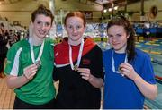 14 December 2014; Medallists in the Womens 100m Backstroke, from left, Laoise Fleming, silver, Kells swimming club, Danielle Hill, gold, Larne swimming club, and Bethany Firth, bronze, Ards swimming club, at  Day 3 of the Irish Short Course Swimming Championships. Lagan Valley LeisurePlex, Lisburn, Co. Antrim. Picture credit: Oliver McVeigh / SPORTSFILE