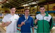 14 December 2014; Medallists in the Mens 200m Freestyle, from left, Brendan Hyland, silver, Tallaght swimming club, Jordan Sloan, gold, Bangor swimming club, and Curtis Coulter, bronze, Ards swimming club, at  Day 3 of the Irish Short Course Swimming Championships. Lagan Valley LeisurePlex, Lisburn, Co. Antrim. Picture credit: Oliver McVeigh / SPORTSFILE