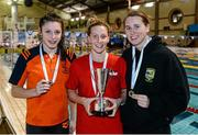 14 December 2014; Medallists in the Womens 200m Freestyle, from left, Antoinette Neamt, silver, Tallaght swimming club, Bethany Carson, gold, Lisburn swimming club, and Terese Corry, bronze, Portmarnock swimming club, at  Day 3 of the Irish Short Course Swimming Championships. Lagan Valley LeisurePlex, Lisburn, Co. Antrim. Picture credit: Oliver McVeigh / SPORTSFILE
