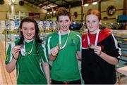 14 December 2014; Medallists in the Womens 50m Butterfly, from left, Emma Reid, silver, Ards swimming club, Bethany Firth, gold, Ards swimming club, and Danielle Hill, bronze, Larne swimming club, at  Day 3 of the Irish Short Course Swimming Championships. Lagan Valley LeisurePlex, Lisburn, Co. Antrim. Picture credit: Oliver McVeigh / SPORTSFILE