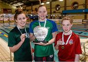 14 December 2014; Medallists in the Womens 400m Individual Medley, from left, Aoife Shorten, silver, Galway swimming club, Lydia Kehoe, gold, New Ross swimming club, and Ellen Walshe, bronze, Temple swimming club, at  Day 3 of the Irish Short Course Swimming Championships. Lagan Valley LeisurePlex, Lisburn, Co. Antrim. Picture credit: Oliver McVeigh / SPORTSFILE