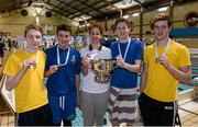 14 December 2014; Medallists, from left, Scott Dennis, Jamie Graham, James Doggert and Jordan Sloan, gold medal winners in the Mens 400m Freestyle relay, representing Bangor swimming club, along with former Irish Olympic swimmer Melanie Nocher at  Day 3 of the Irish Short Course Swimming Championships. Lagan Valley LeisurePlex, Lisburn, Co. Antrim. Picture credit: Oliver McVeigh / SPORTSFILE